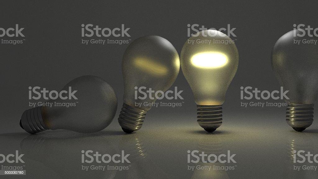 Lightbulbs pendulum passing ideas stock photo