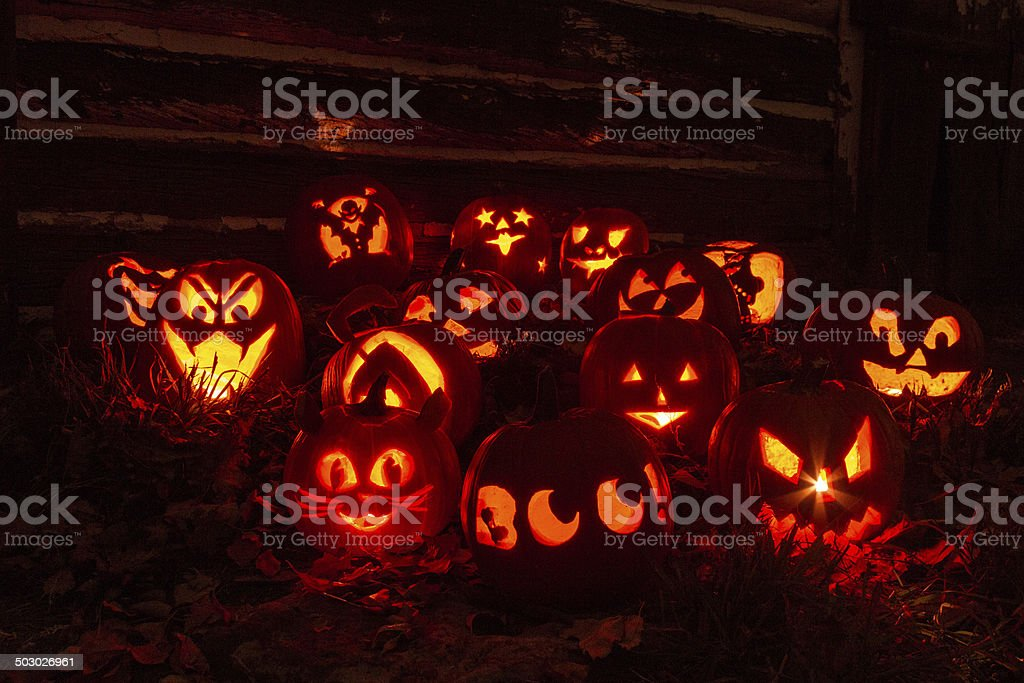 Lighted Halloween Pumpkins stock photo