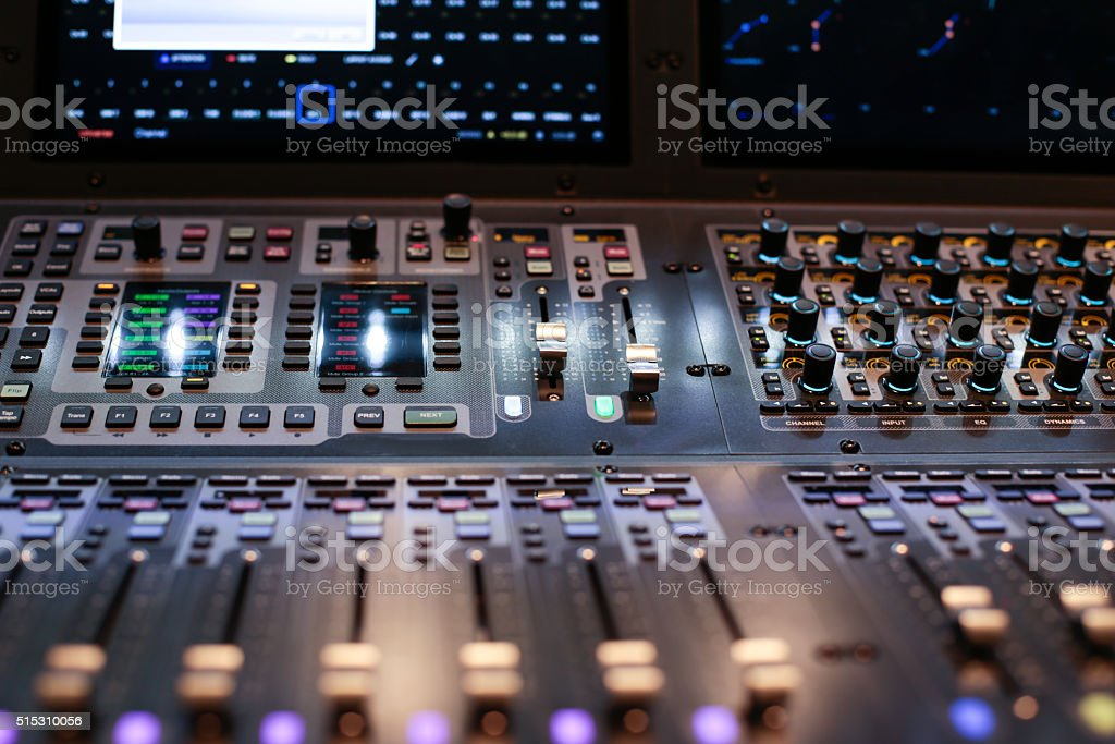 Lighted panel of the Hi-End stage controller stock photo
