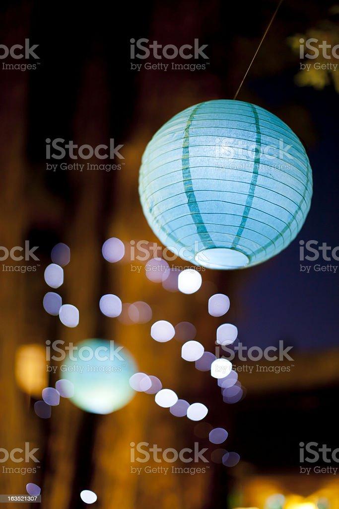 Lighted Paper Lantern at Night stock photo