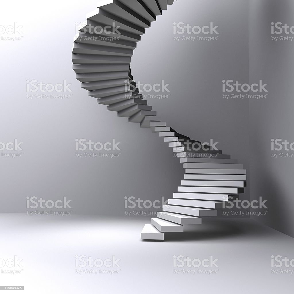 lighted stairs in a dark room stock photo