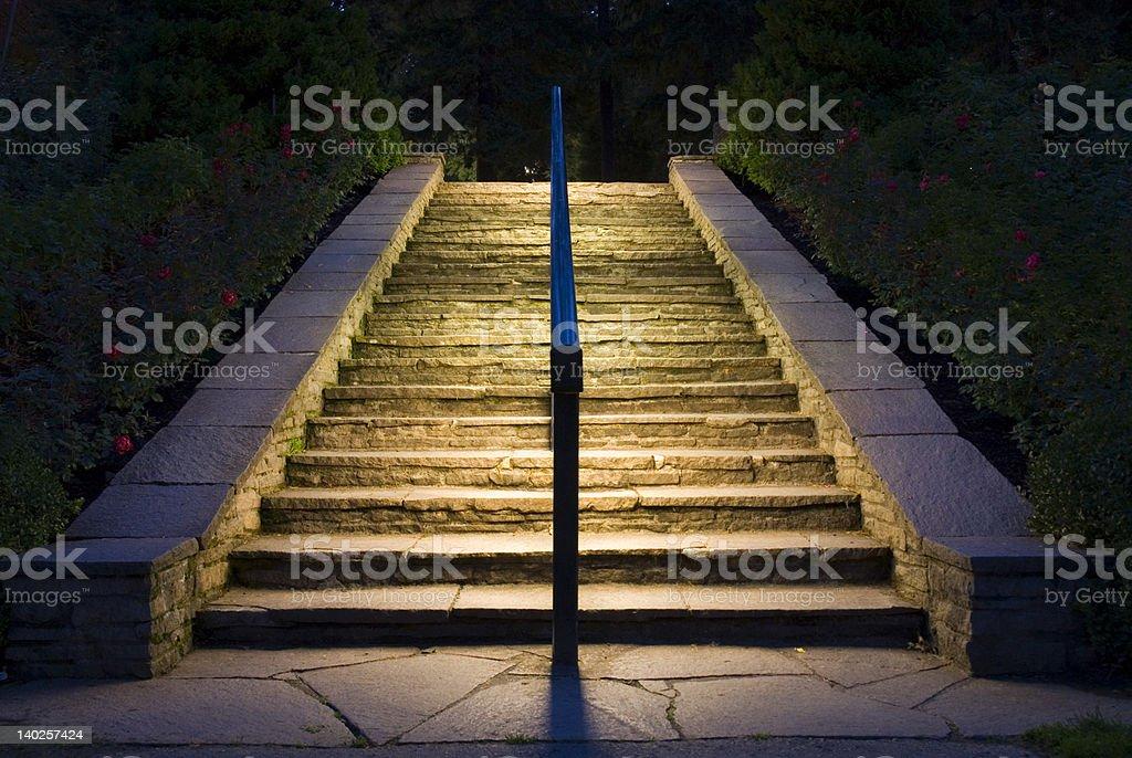 Lighted Stairway stock photo