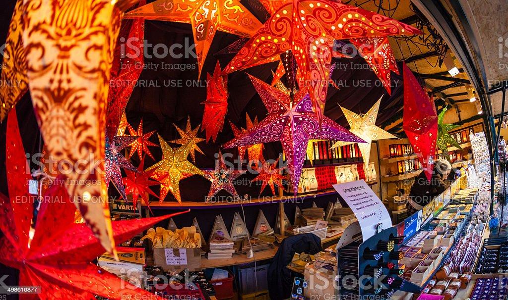 Lighted Stars Christmas Market Salzburg Austria stock photo