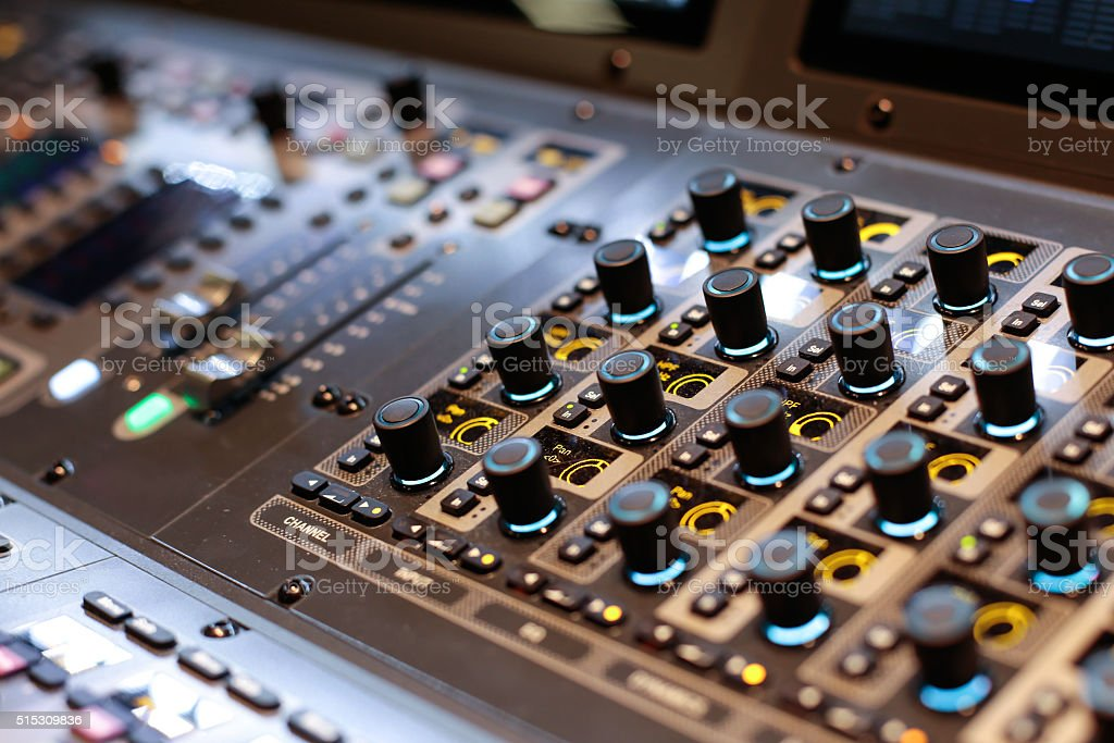Lighted switchers of the Hi-End stage controller stock photo
