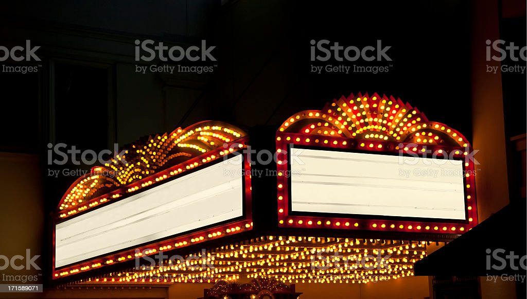 Lighted Theater Marquee at night with 2 copy space areas stock photo