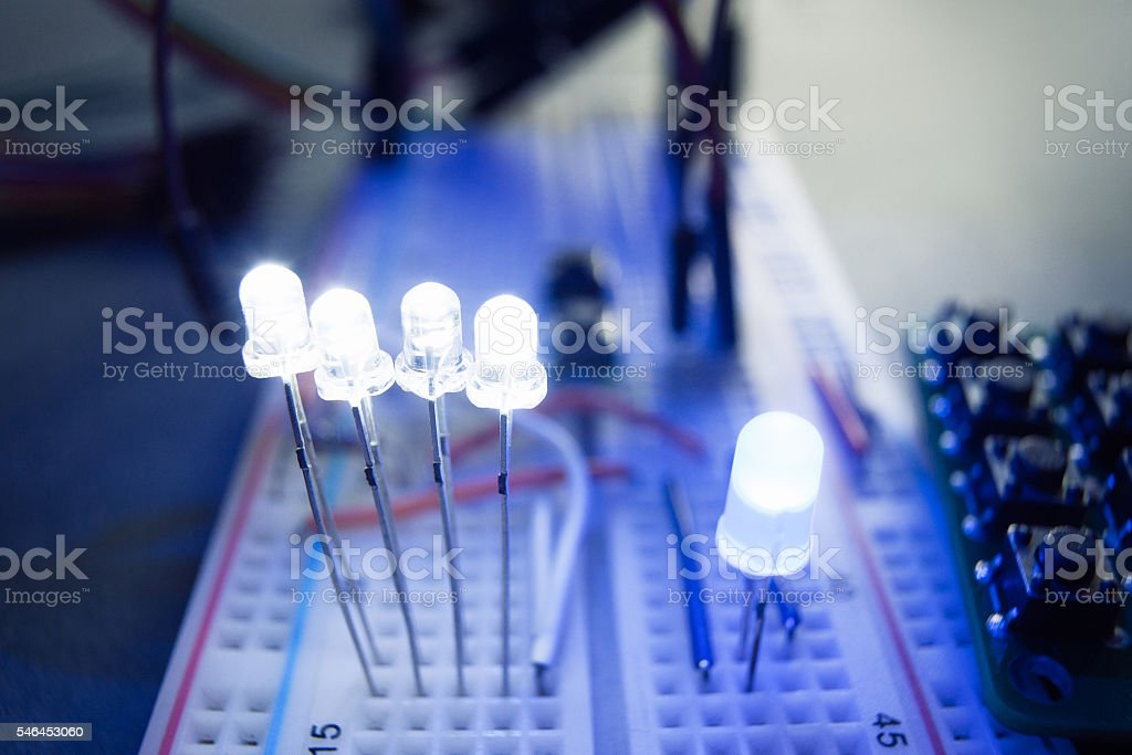 LED Light-emitting diodes on electrical breadboard stock photo