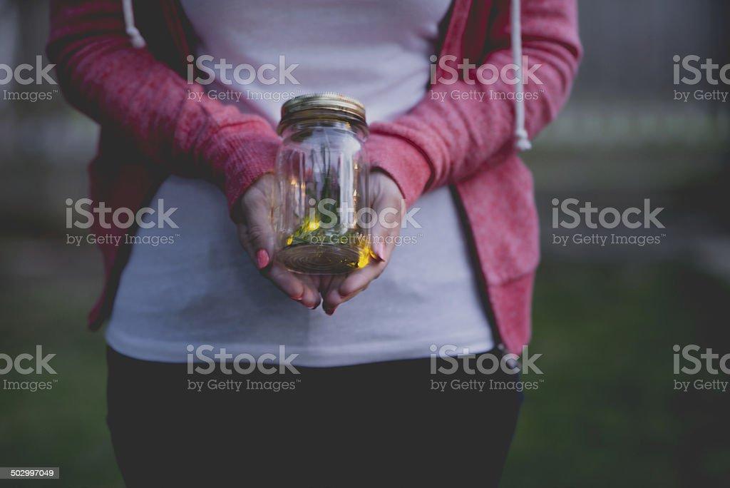 Lightening Bugs (Fireflies) in Jar stock photo