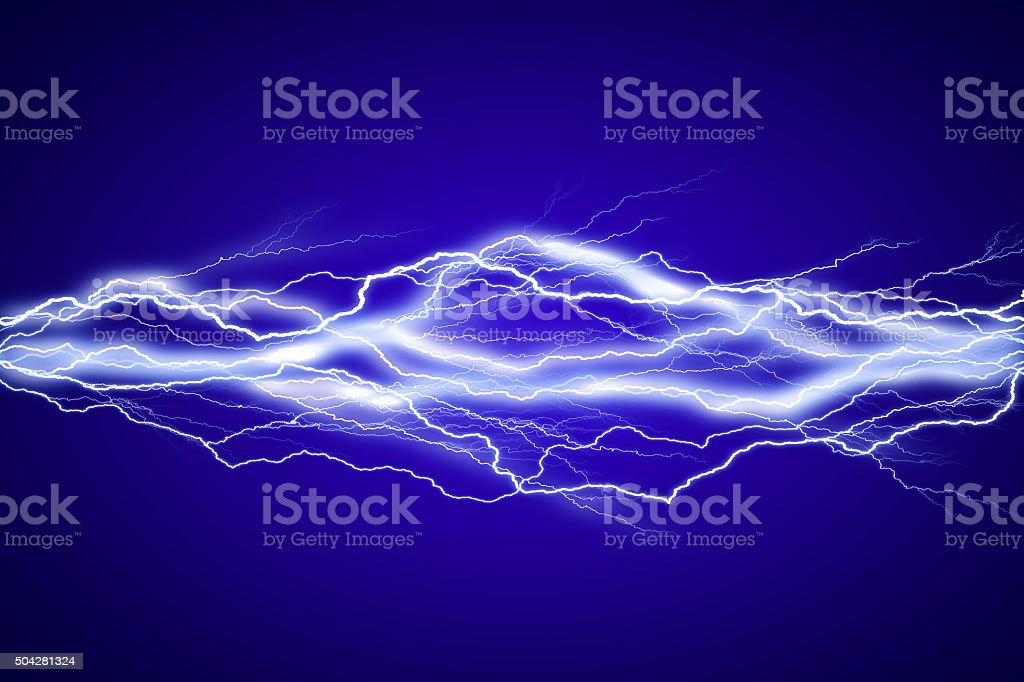 Lightenings effect background in blue sky vector art illustration
