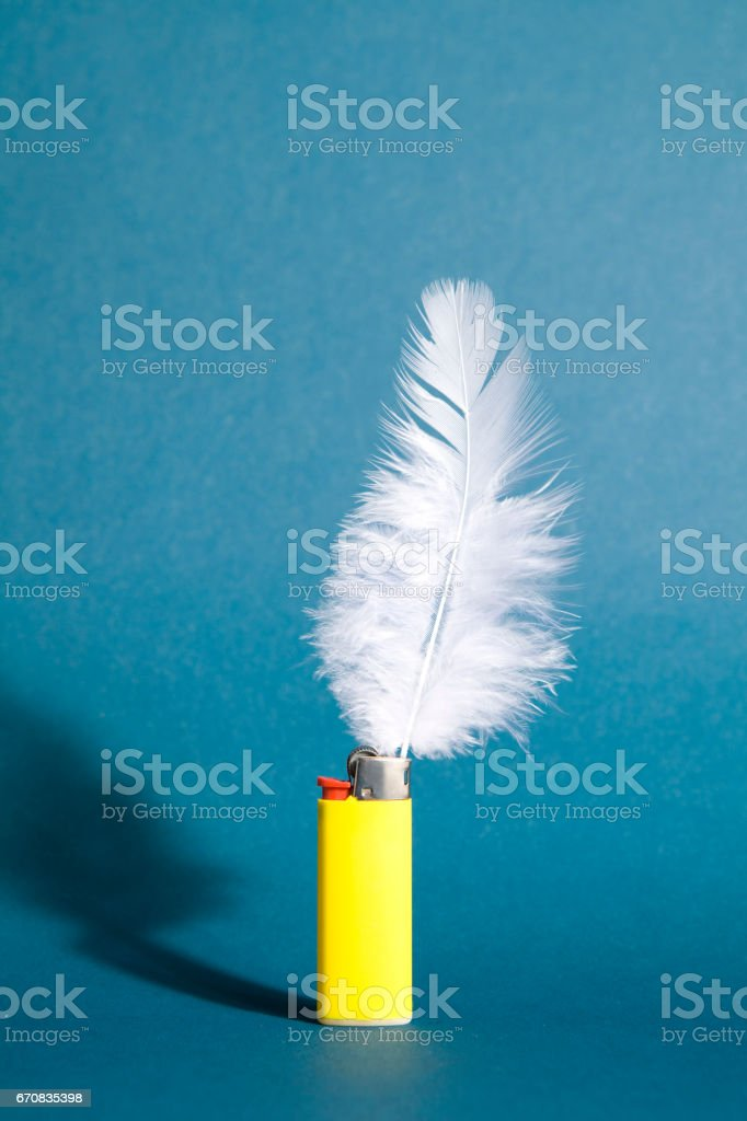 Lighter feather stock photo