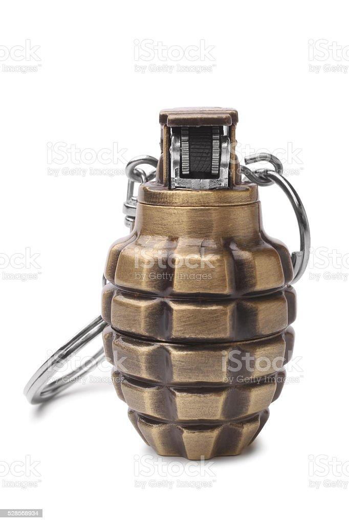 Lighter in the form of a hand grenade stock photo