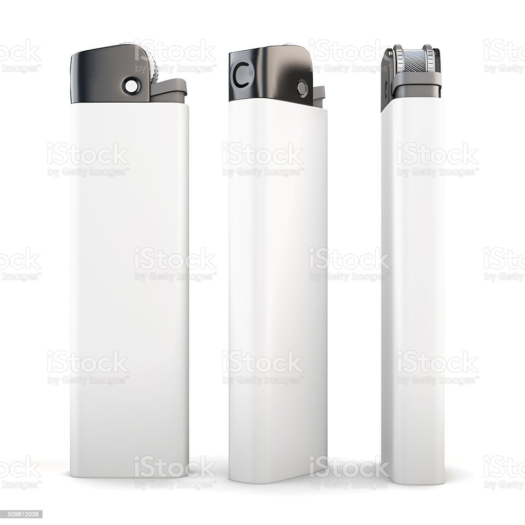 Lighter in three angles on a white background. 3d rendering. stock photo