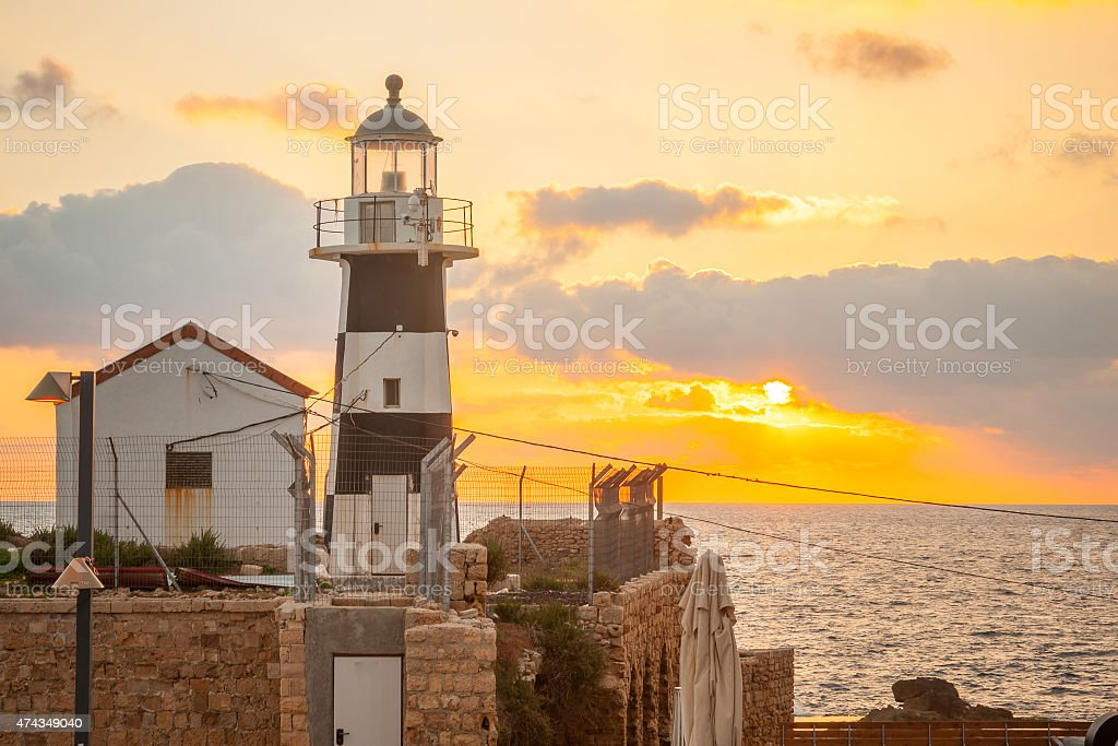Lighthouse, Acre stock photo