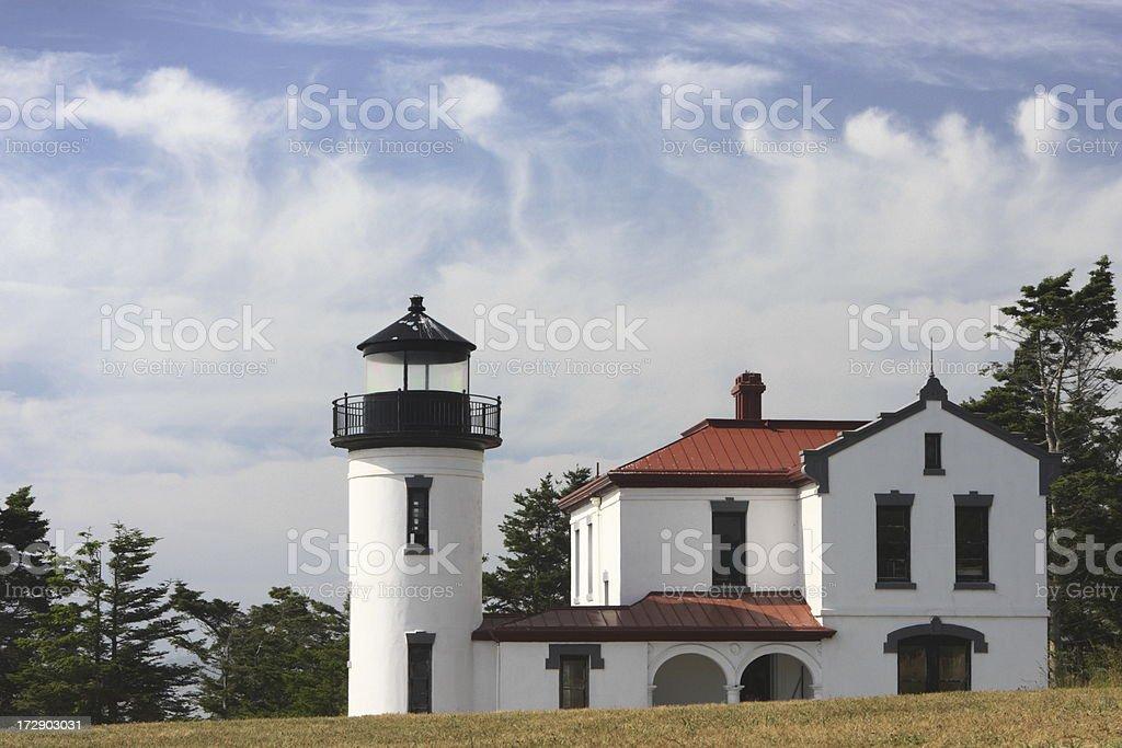 Lighthouse Admiralty Head Wispy Cloud Sky stock photo