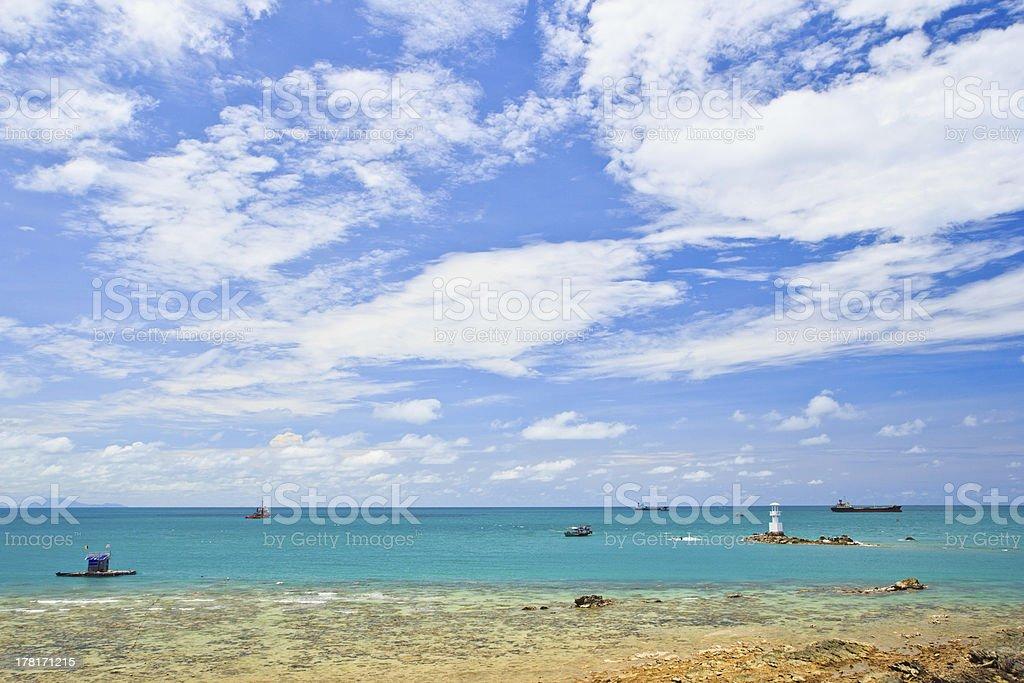 Lighthouse among blue sea and sky royalty-free stock photo