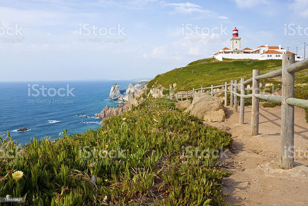 lighthouse and Atlantic ocean at cabo da Roca royalty-free stock photo