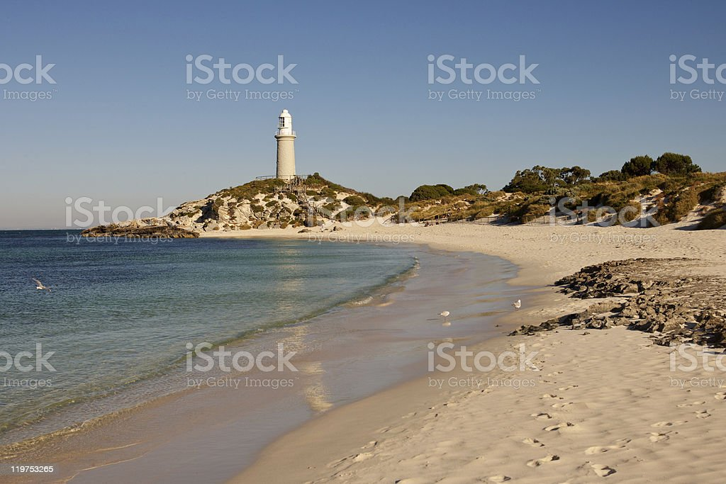 Lighthouse and beach at Rottnest Island stock photo