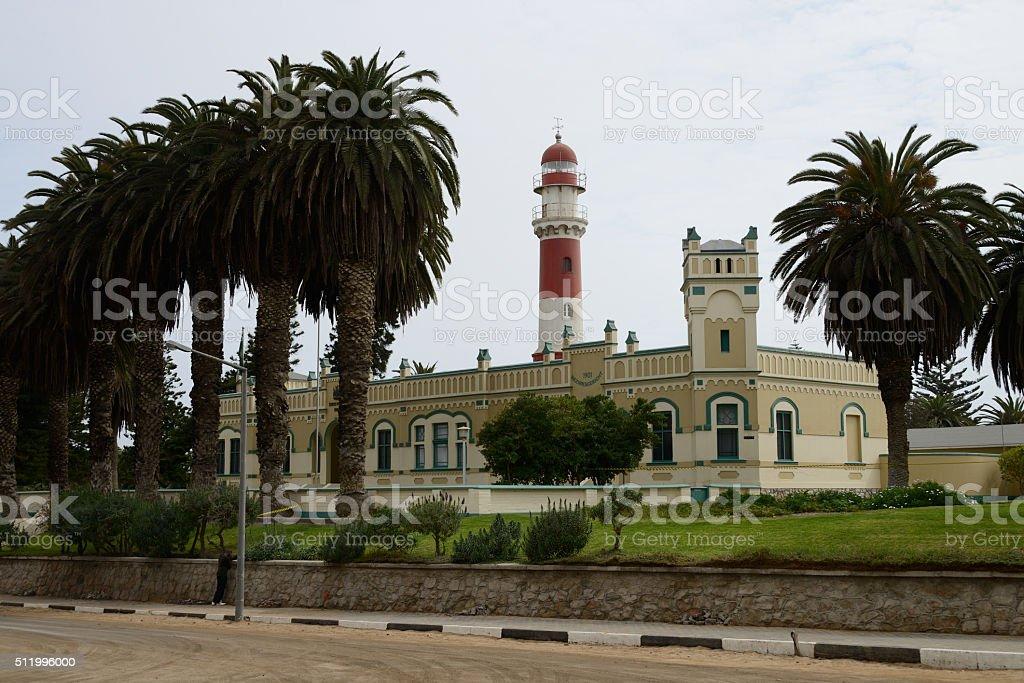 Lighthouse and Bezirksgericht, Swakopmund, Namibia stock photo