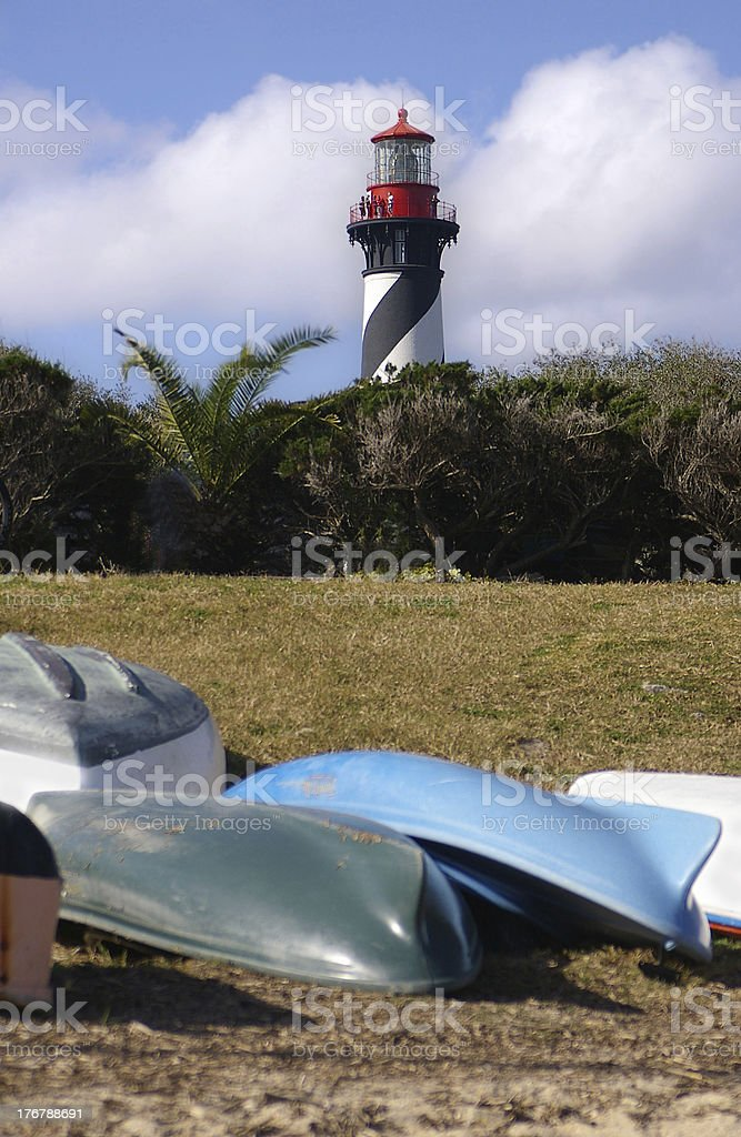 Lighthouse and boats stock photo