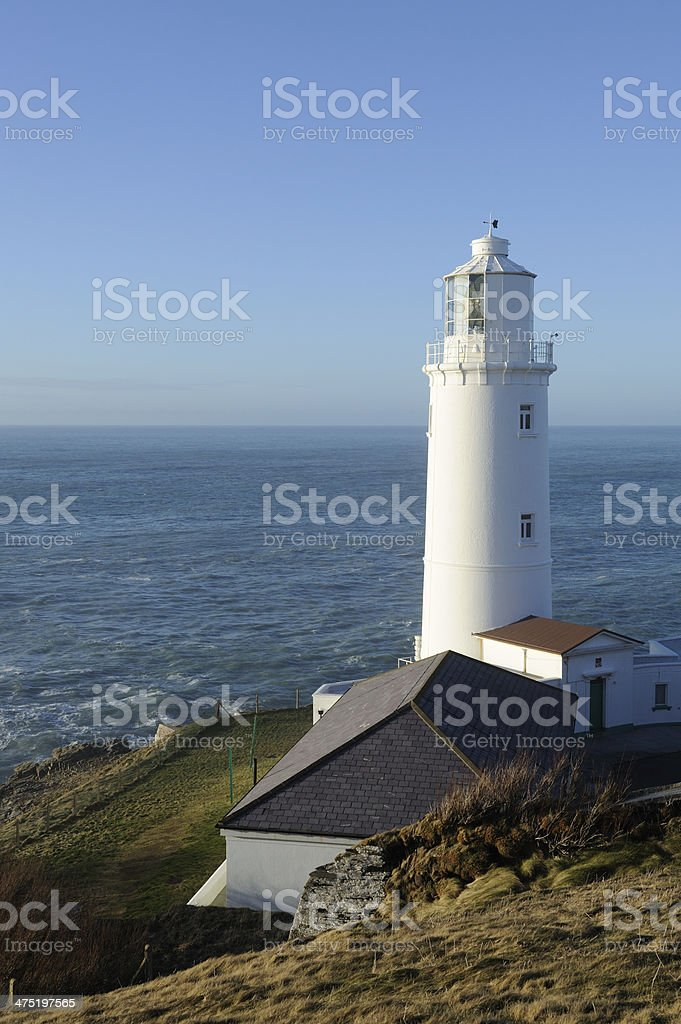 Lighthouse and buildings at Trevose Head Cornwall. stock photo