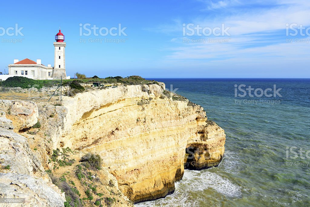 Lighthouse and cliffs - coast of the Algarve, Portugal stock photo