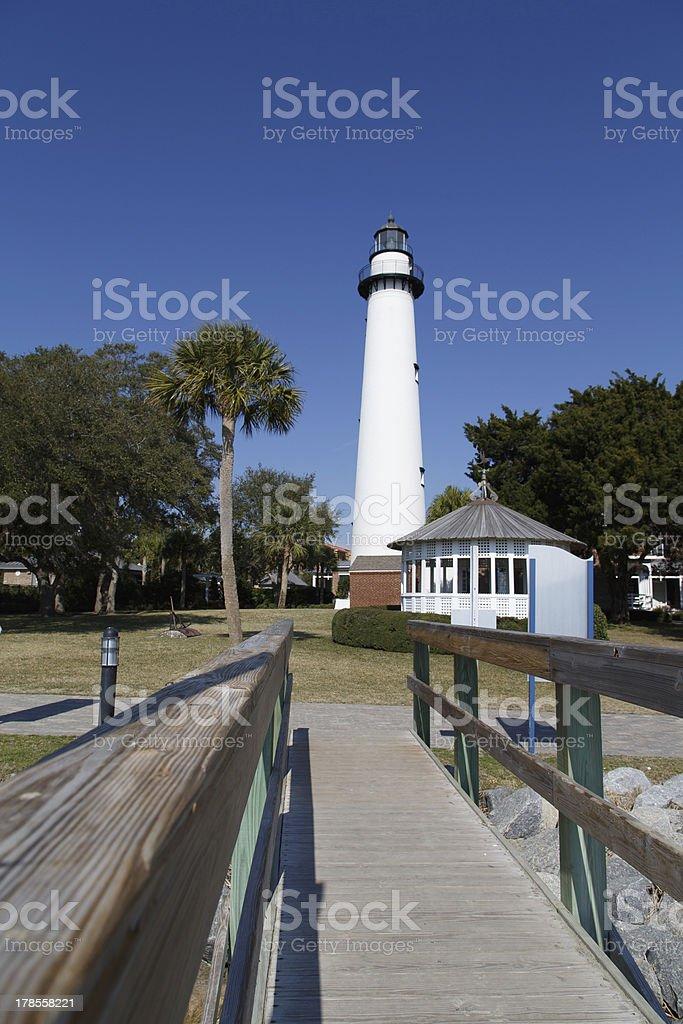 Lighthouse and Gazebo Down Boardwalk royalty-free stock photo
