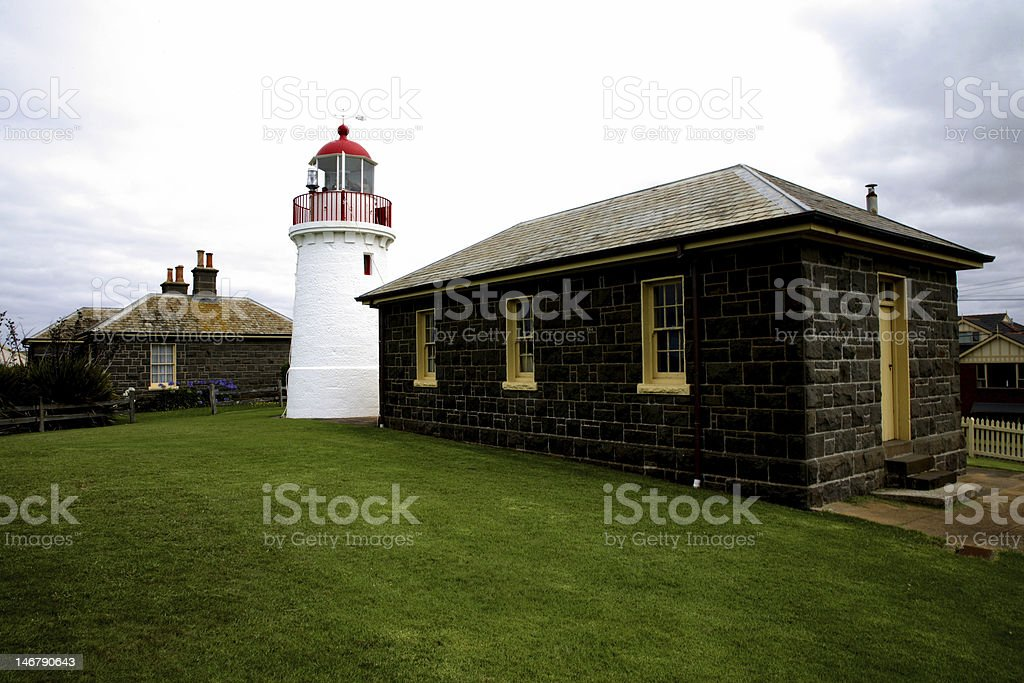 Lighthouse and Keepers Cottage stock photo