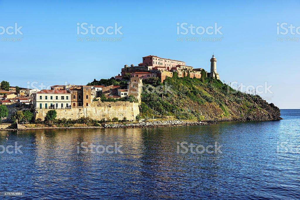 Lighthouse and old town wall, Portoferraio, Island of Elba, Ital stock photo