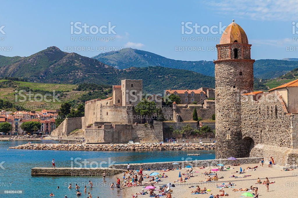 Lighthouse and spire of Collioure, France stock photo