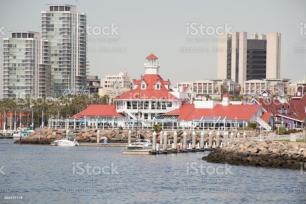 Lighthouse architectural landmark on the shore of Long Beach CA stock photo