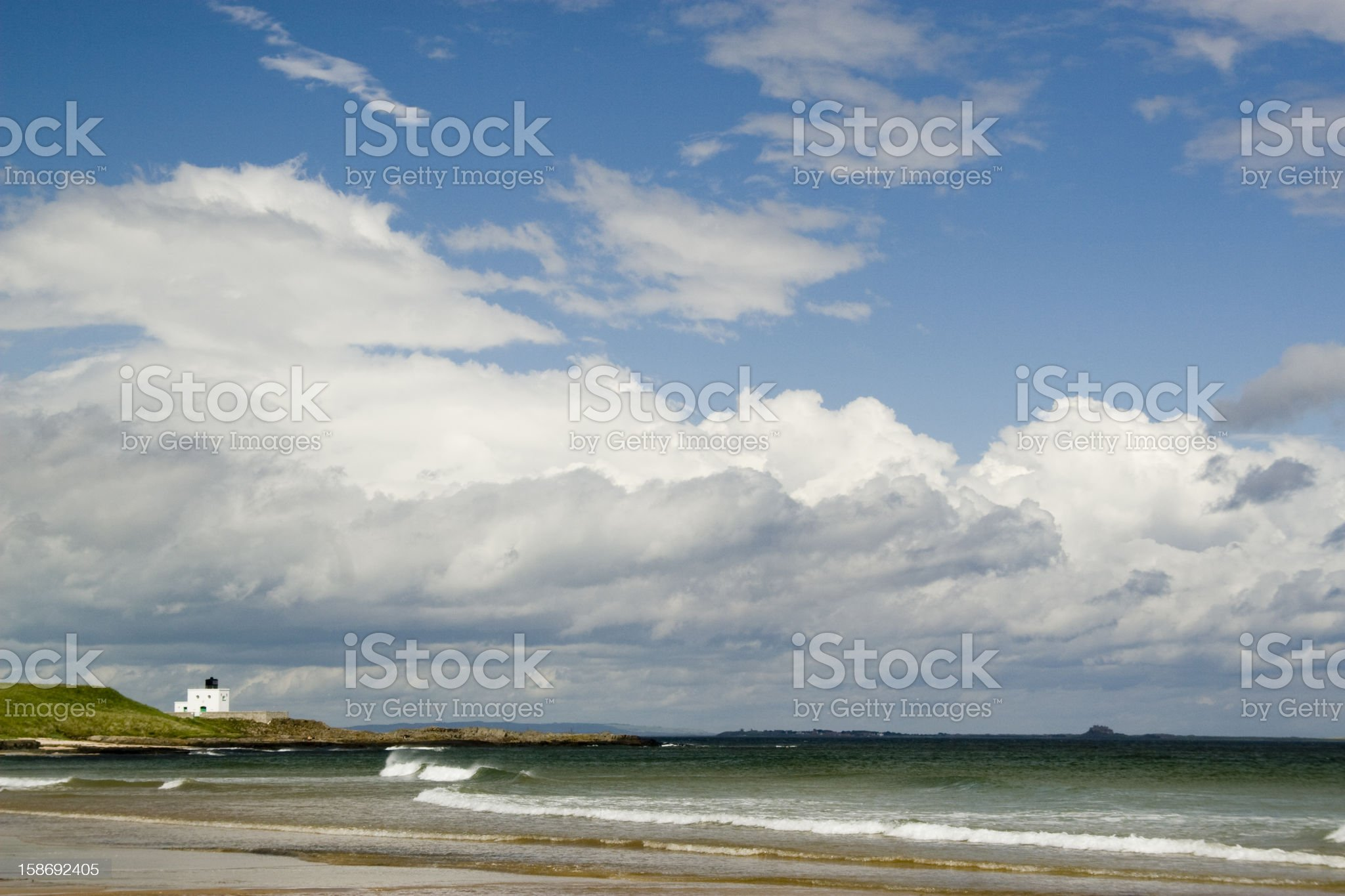 Lighthouse at Bamburgh royalty-free stock photo