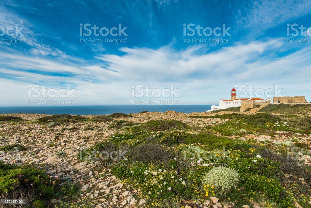 Lighthouse at Cabo de Sao Vicente, Algarve, Portugal. stock photo