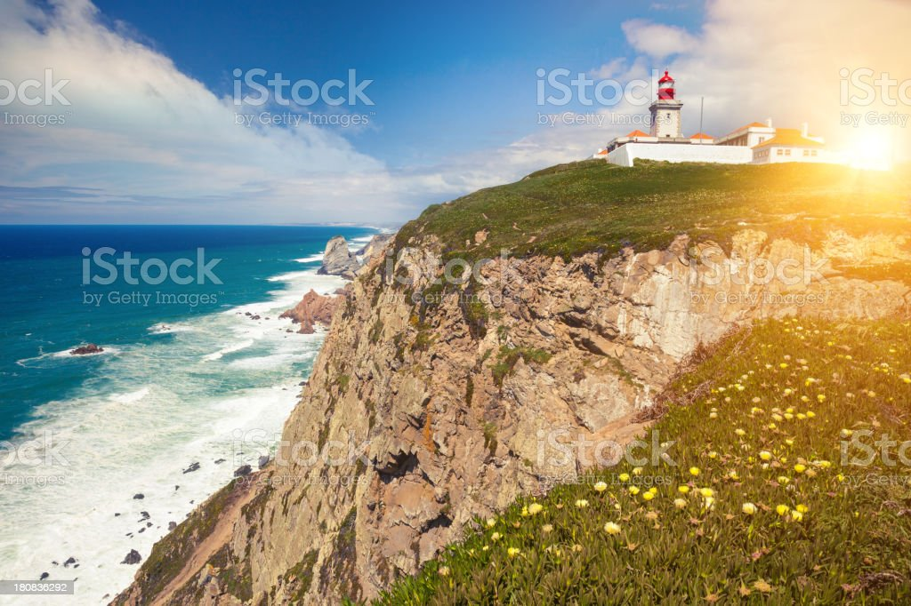 Lighthouse at Cabo Sao Vicente royalty-free stock photo