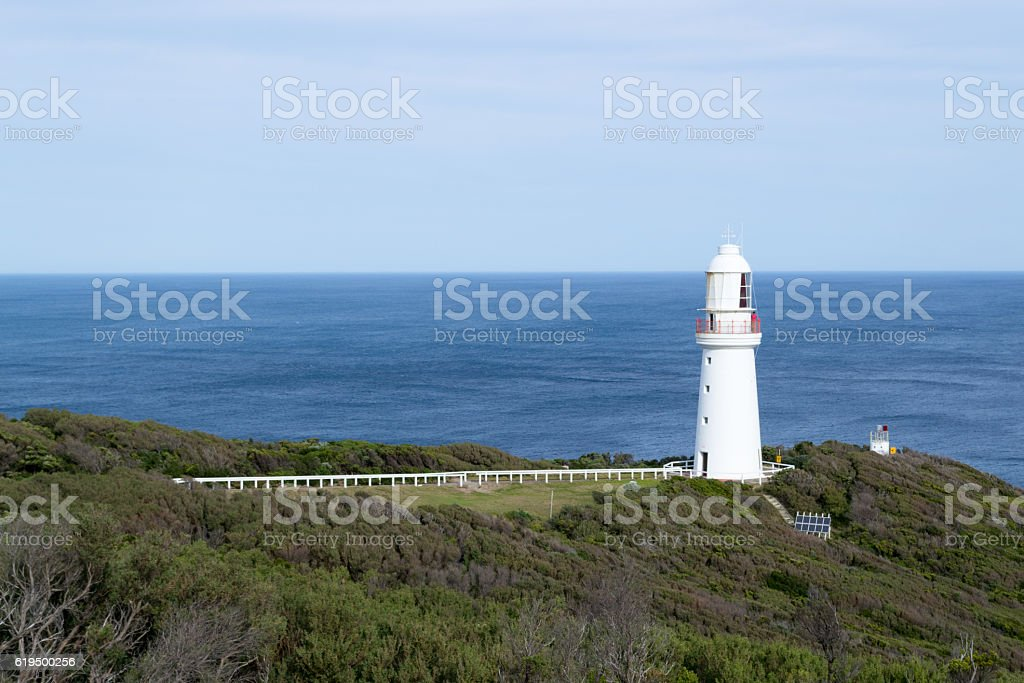 Lighthouse at Cape Otway by the Great Ocean Road stock photo