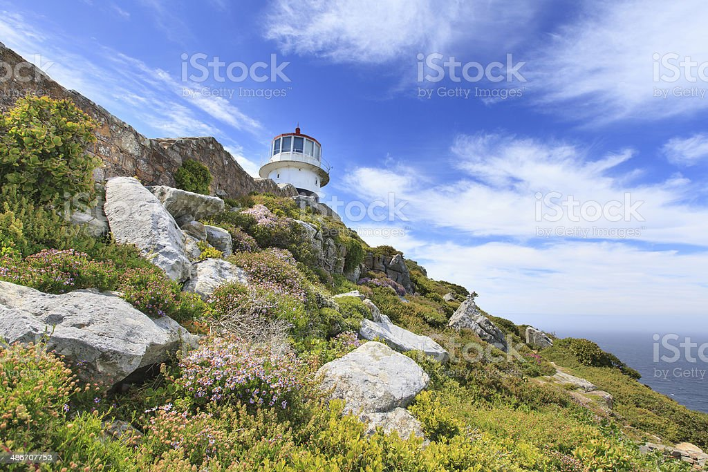Lighthouse at Cape Point, South Africa stock photo
