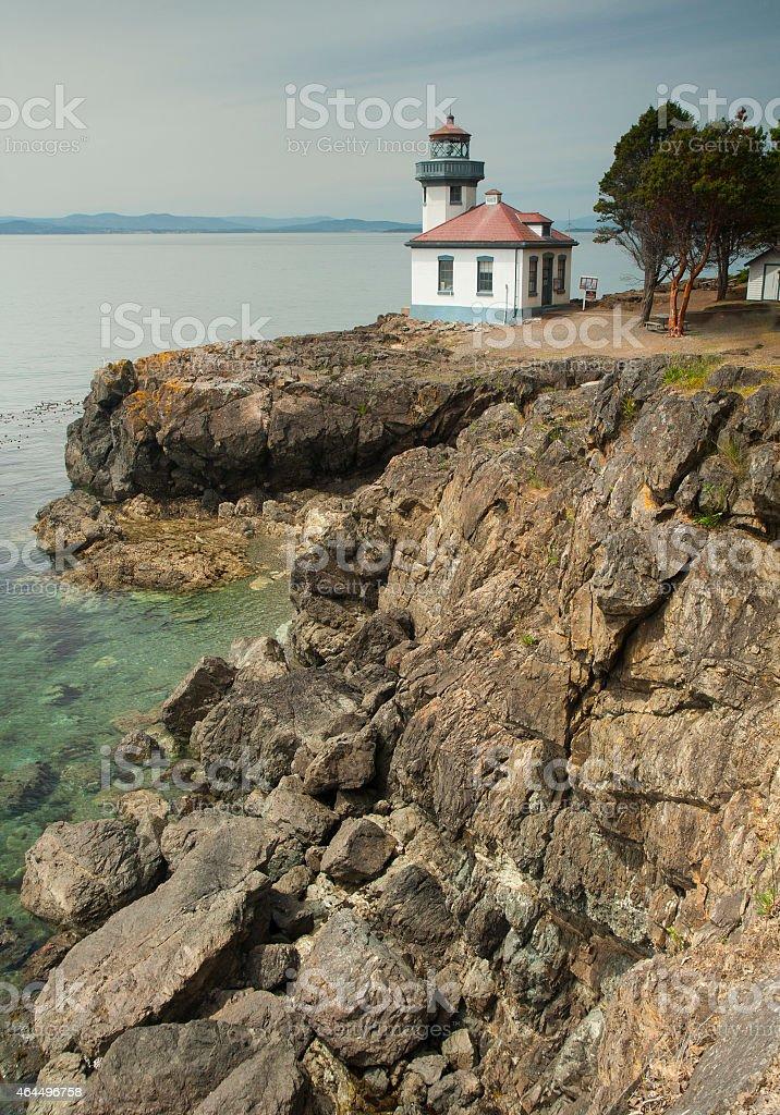Lighthouse at Coast of San Juan Islands Washington stock photo