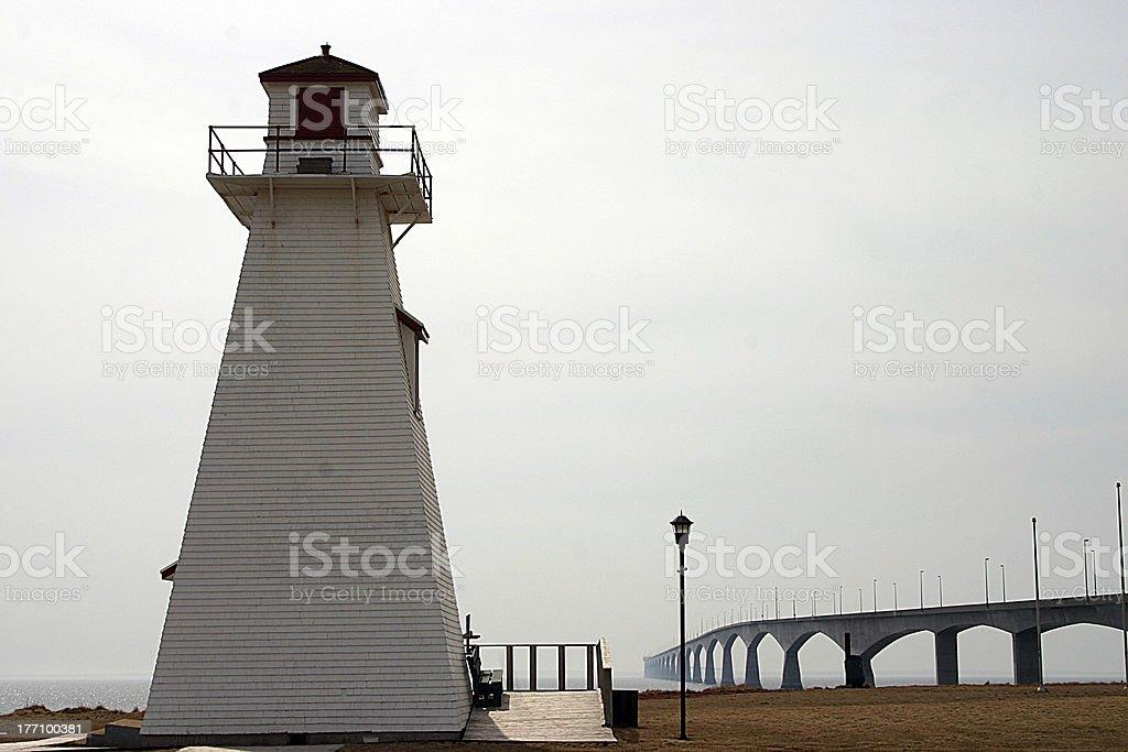 Lighthouse at Confederation Bridge royalty-free stock photo