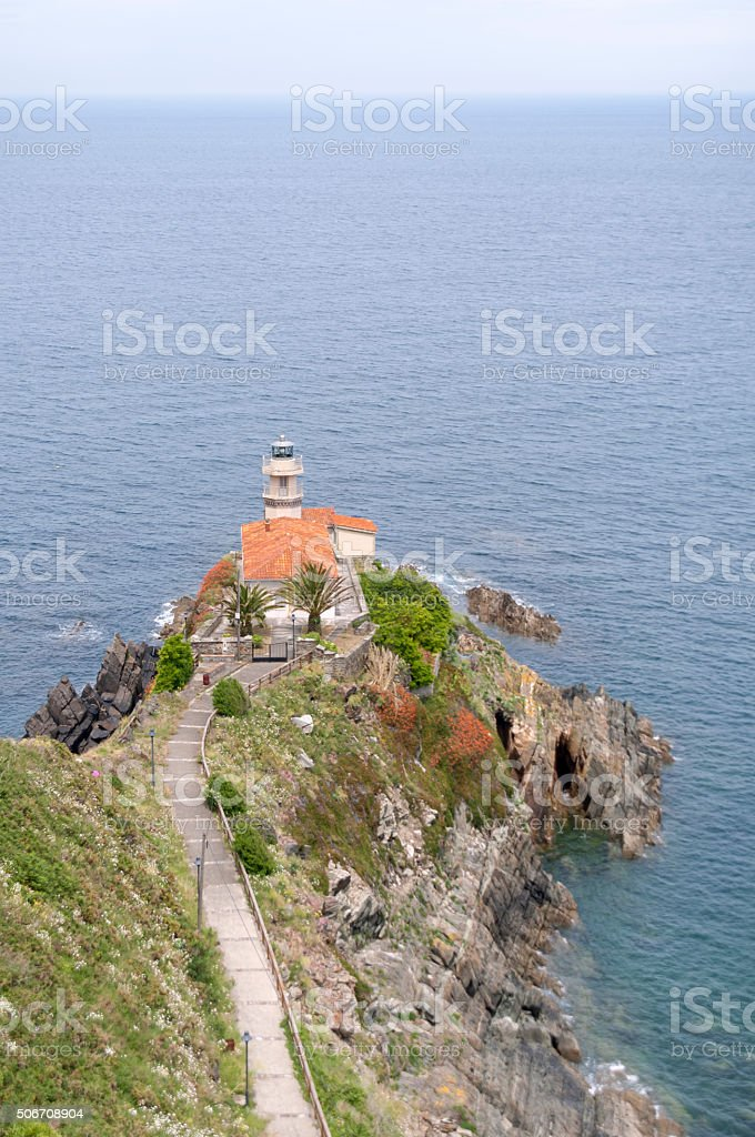 Lighthouse at Cudillero - Vertical stock photo