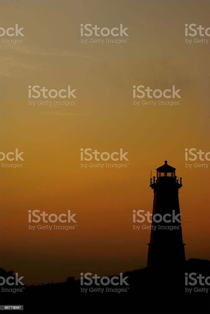 Lighthouse at dusk in Louisbourg stock photo