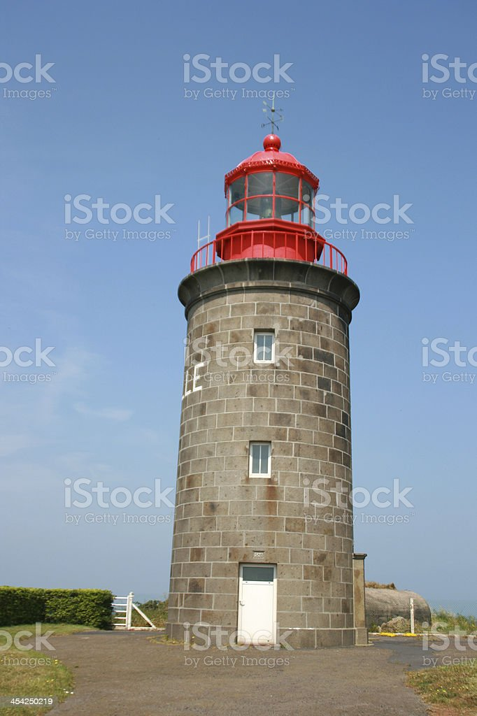 Lighthouse at granvile, Normandy, france royalty-free stock photo