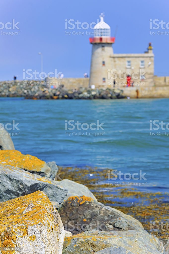 Lighthouse at Howth Harbor stock photo