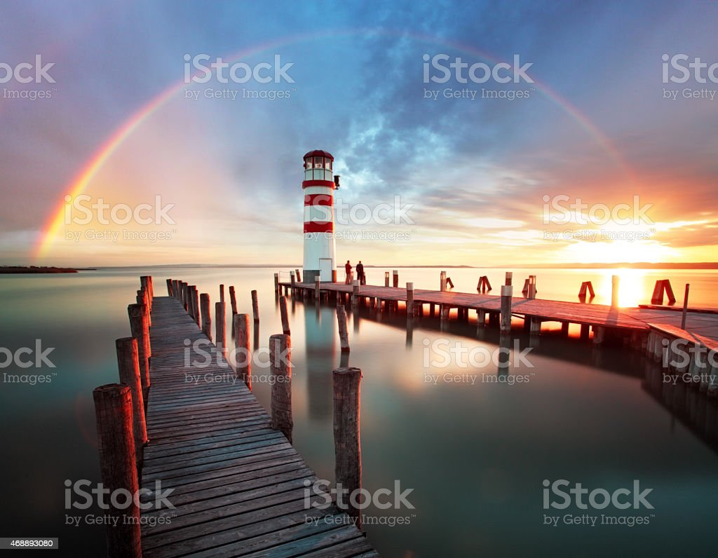 Lighthouse at Lake Neusiedl - Austria stock photo