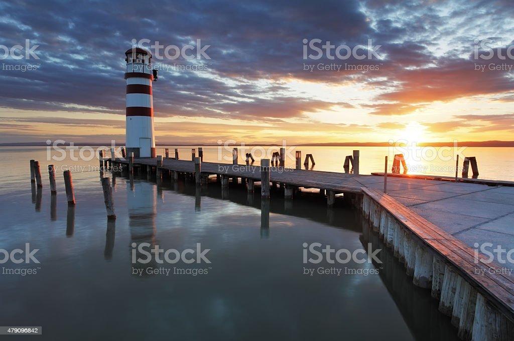 Lighthouse at Lake Neusiedl - Austria stock photo