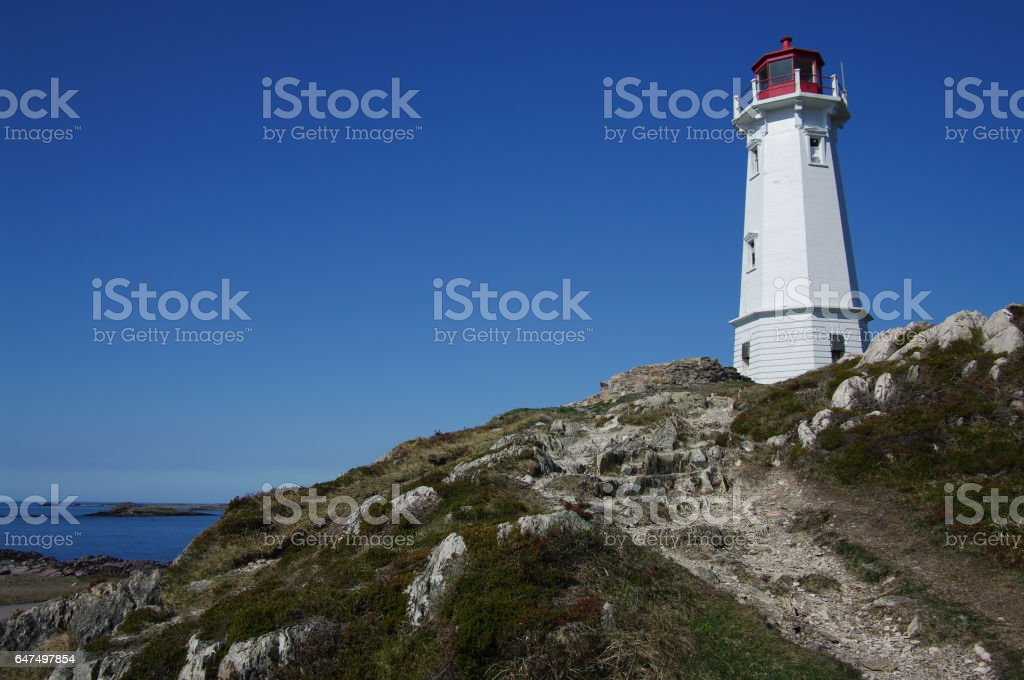 Lighthouse at Louisbourg stock photo