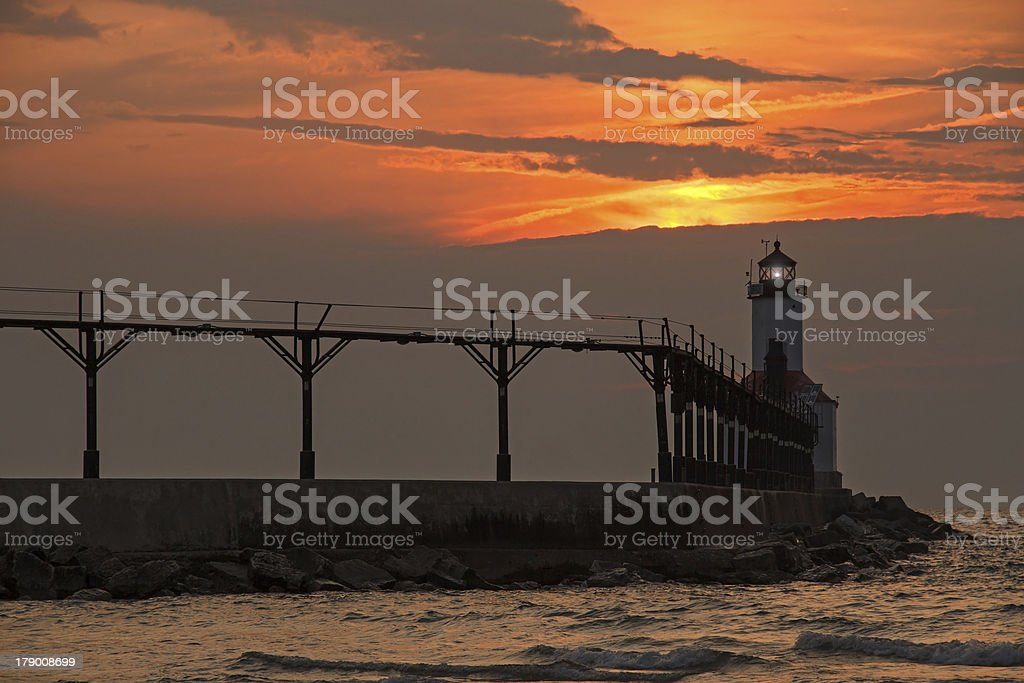 Lighthouse at Michigan City royalty-free stock photo