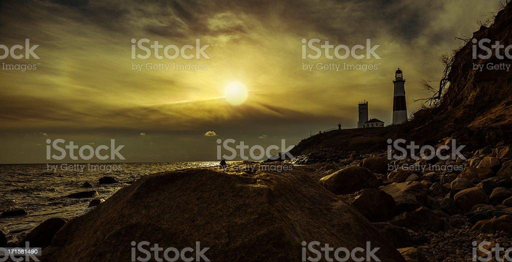 Lighthouse at Montauk point, Long Islans. stock photo