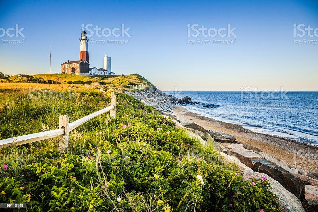 Lighthouse at Montauk point, Long Islans stock photo