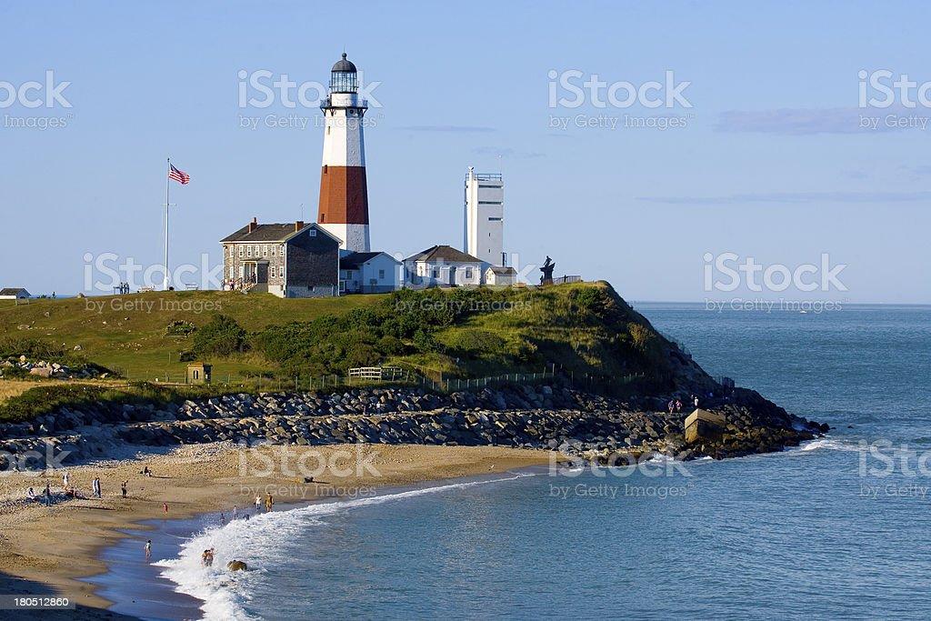 Lighthouse at Montauk Point. stock photo