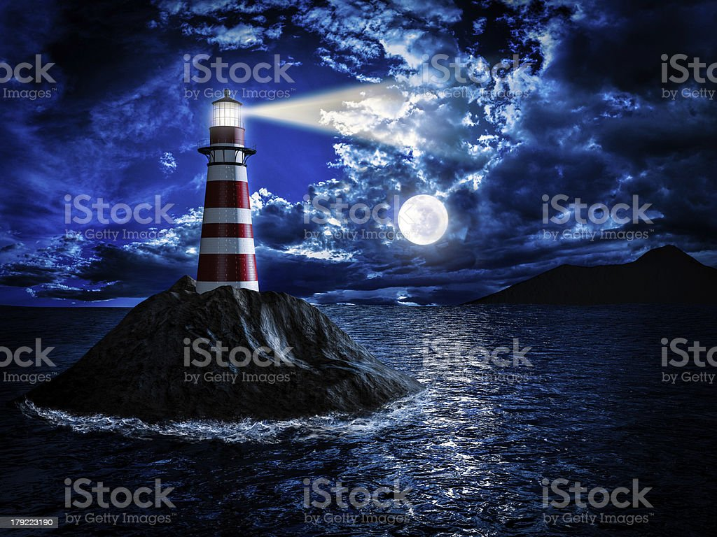 Lighthouse at moonlight royalty-free stock photo