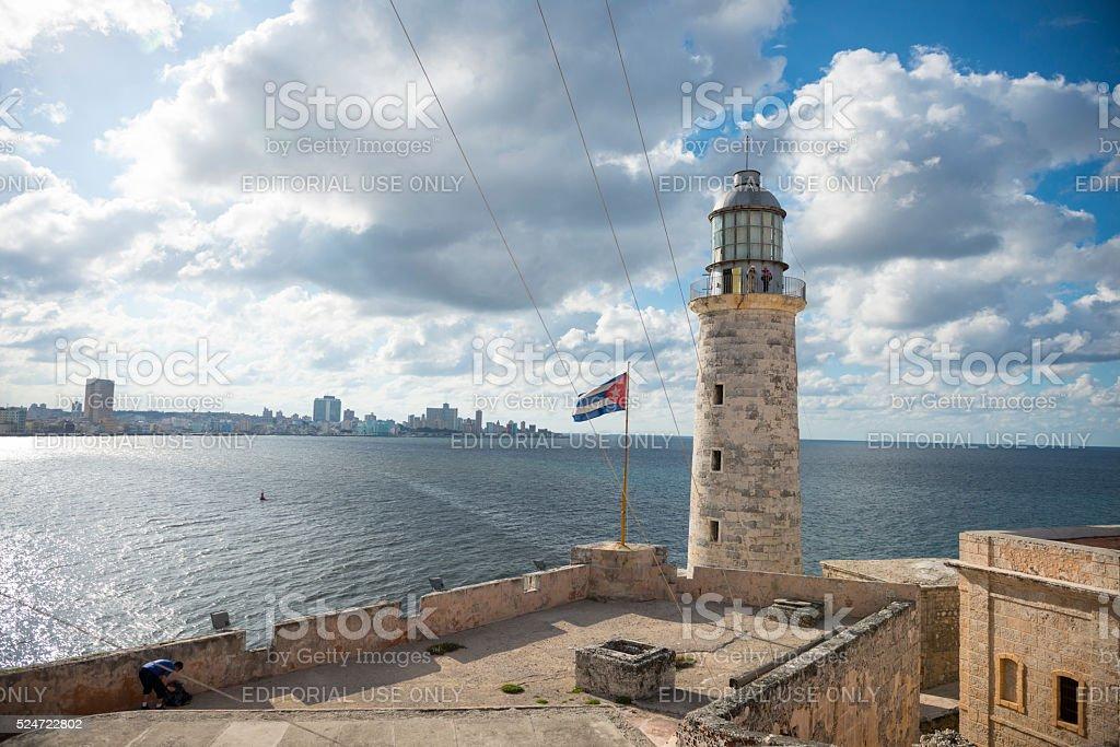 Lighthouse at Morro Castle in Havana, Cuba stock photo