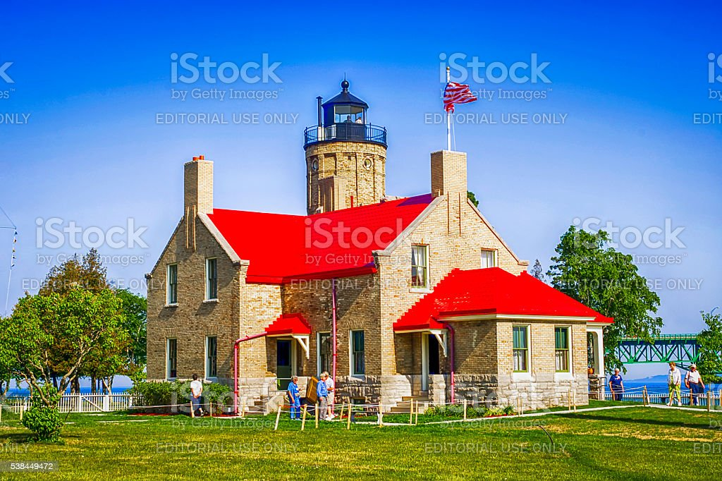 Lighthouse at Old Mackinac Point in the Michigan Upper Penninsula stock photo